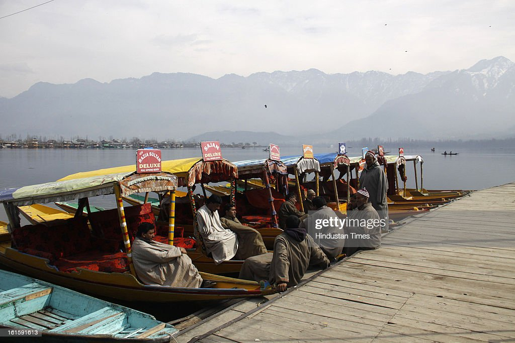 Shikaras waiting for tourists in Dal Lake on the 4th day of curfew, on February 12, 2013 in Srinagar, India. Curfew imposed in Srinagar after Afzal Guru's execution.