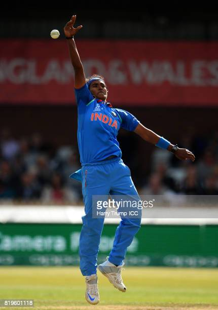 Shikha Pandey of India attempts a catch during the ICC Women's World Cup 2017 match between Australia and India at The 3aaa County Ground on July 20...