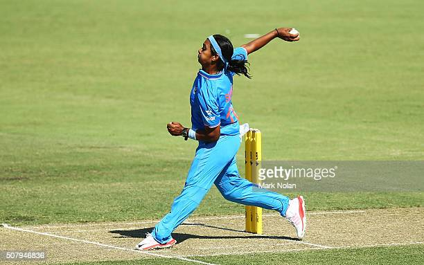 Shikha Pandey of India bowls during game one of the Women's ODI series between Australia and India at Manuka Oval on February 2 2016 in Canberra...