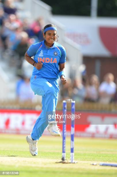 Shikha Pandey of India celebrates during the SemiFinal ICC Women's World Cup 2017 match between Australia and India at The 3aaa County Ground on July...