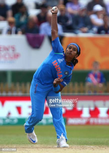 Shikha Pandey of India during the ICC Women's World Cup match between England and India at The 3aaa County Ground on June 24 2017 in Derby England