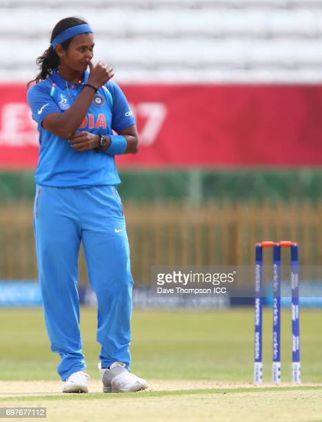 Shikha Pandey of India during the ICC Women's World Cup warm up match between India and New Zealand at The County Ground on June 19 2017 in Derby...