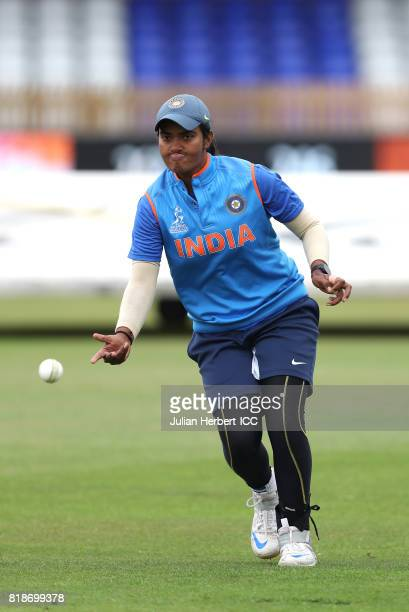 Shikha Pandey of India takes part in a training session prior to The ICC Women's World Cup 2017 SemiFinal between Australia and India at The County...