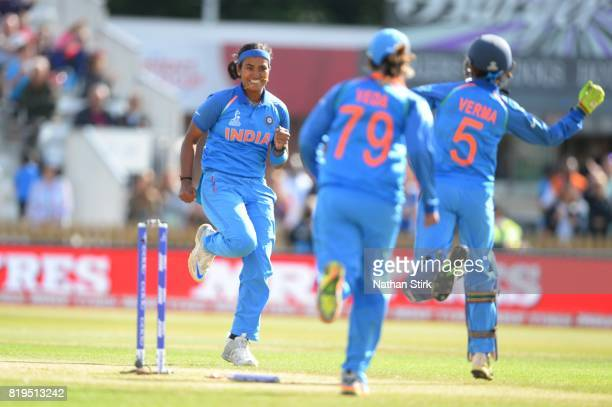 Shikha Pandeyof India celebrates during the SemiFinal ICC Women's World Cup 2017 match between Australia and India at The 3aaa County Ground on July...