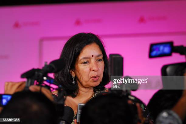 Shikha Sharma MD CEO of Axis bank photographed during a press conference in New Delhi