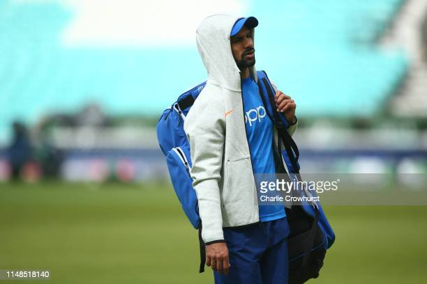 Shikhar Dhawan in action during the India Nets Session at The Oval on June 8, 2019 in London, England.