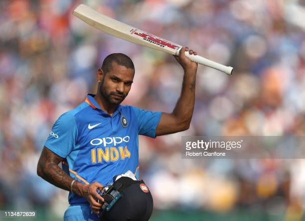 Shikhar Dhawan of India acknowledges the crowd after he was dismissed during game four of the One Day International series between India and...