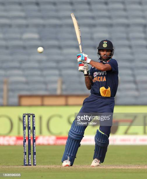 Shikhar Dhawan of India bats during 1st One Day International between India and England at MCA Stadium on March 23, 2021 in Pune, India.