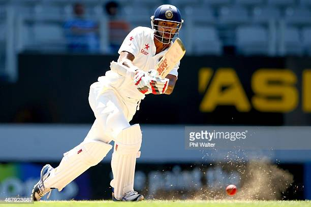 Shikhar Dhawan of India bats during day four of the First Test match between New Zealand and India at Eden Park on February 9, 2014 in Auckland, New...