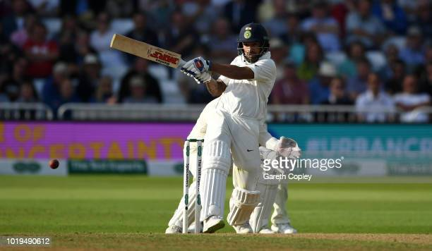 Shikhar Dhawan of India bats during day two of the Specsavers 3rd Test match between England and India at Trent Bridge on August 19, 2018 in...