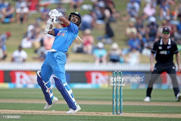 Shikhar Dhawan of India bats during game four of the One Day International series between New Zealand and India at Seddon Park on January 31 2019 in...