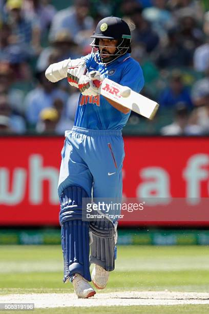 Shikhar Dhawan of India bats during game three of the One Day International Series between Australia and India at Melbourne Cricket Ground on January...
