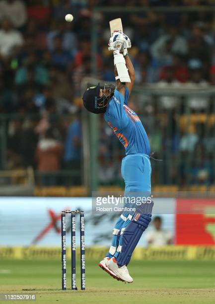 Shikhar Dhawan of India bats during game two of the T20I Series between India and Australia at M. Chinnaswamy Stadium on February 27, 2019 in...