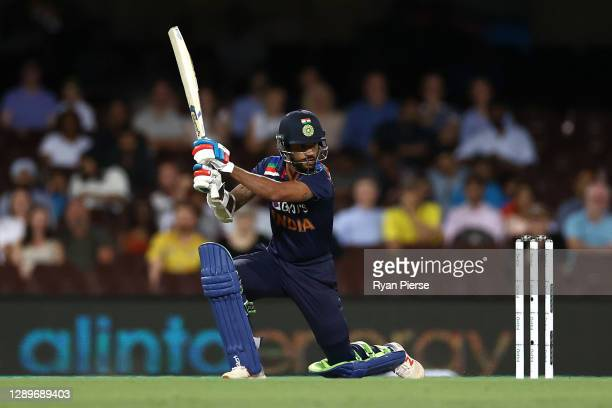 Shikhar Dhawan of India bats during game two of the Twenty20 International series between Australia and India at Sydney Cricket Ground on December...