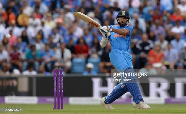Shikhar Dhawan of India bats during the 3rd Royal London OneDay International between England and India at Headingley on July 17 2018 in Leeds England