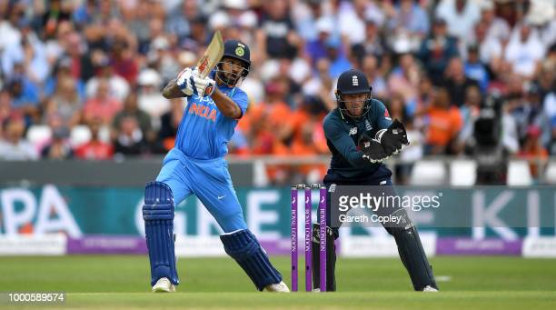 Shikhar Dhawan of India bats during the 3rd Royal London One-Day International match between England and India at Headingley on July 17, 2018 in...