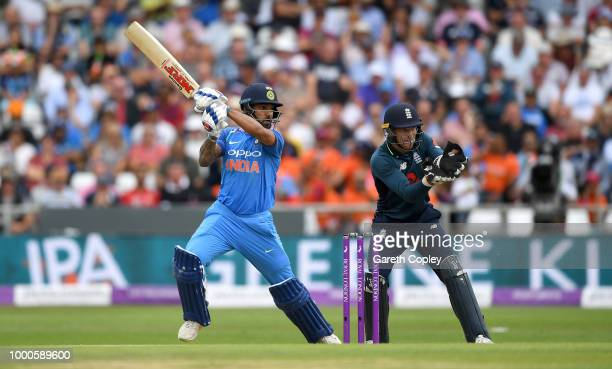 Shikhar Dhawan of India bats during the 3rd Royal London OneDay International match between England and India at Headingley on July 17 2018 in Leeds...