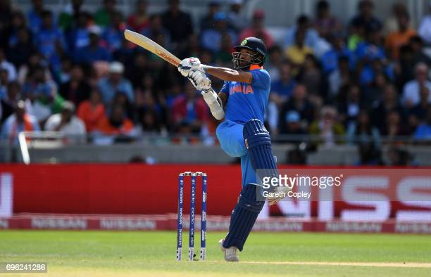 Shikhar Dhawan of India bats during the ICC Champions Trophy Semi Final between Bangladesh and India at Edgbaston on June 15 2017 in Birmingham...