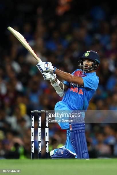 Shikhar Dhawan of India bats during the International Twenty20 match between Australia and India at Sydney Cricket Ground on November 25, 2018 in...