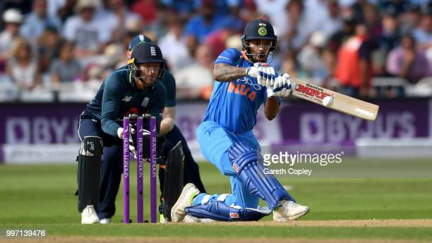 Shikhar Dhawan of India bats during the Royal London OneDay match between England and India at Trent Bridge on July 12 2018 in Nottingham England