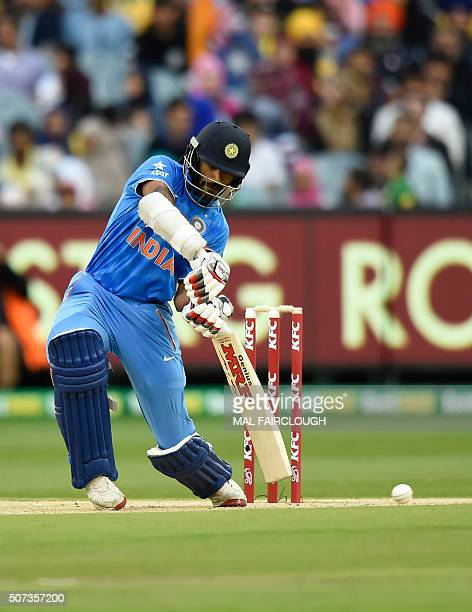 Shikhar Dhawan of India bats during the second Twenty20 international cricket match between Australia and India at the MCG in Melbourne on January 29...