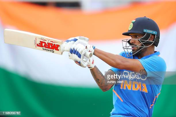 Shikhar Dhawan of India bats during the third MyTeam11 ODI between the West Indies and India at the Queen's Park Oval on August 14, 2019 in Port of...