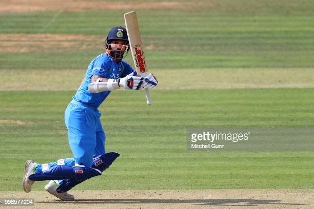 Shikhar Dhawan of India batting during the 2nd Royal London One day International match between England and India at Lords Cricket Ground on July 14...