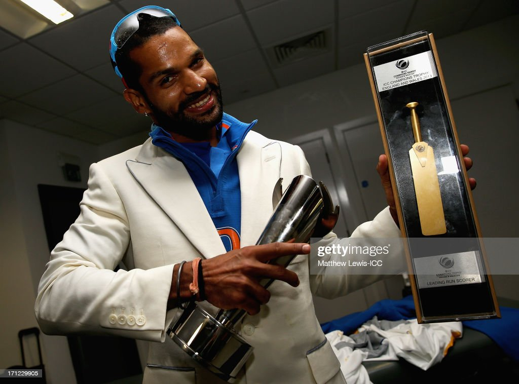 Shikhar Dhawan of India celebrates his teams win over England during the ICC Champions Trophy Final between England and India at Edgbaston on June 23, 2013 in Birmingham, England.