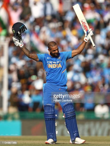Shikhar Dhawan of India celebrates scoring his century during game four of the One Day International series between India and Australia at Punjab...