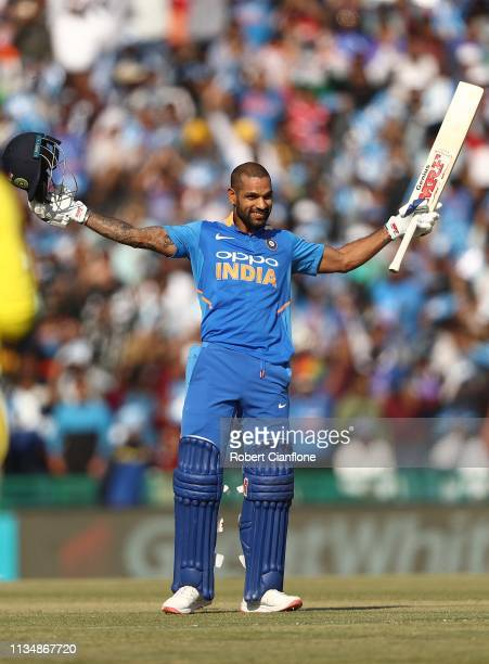 Shikhar Dhawan of India celebrates scoring his century during game four of the One Day International series between India and Australia at Punjab...