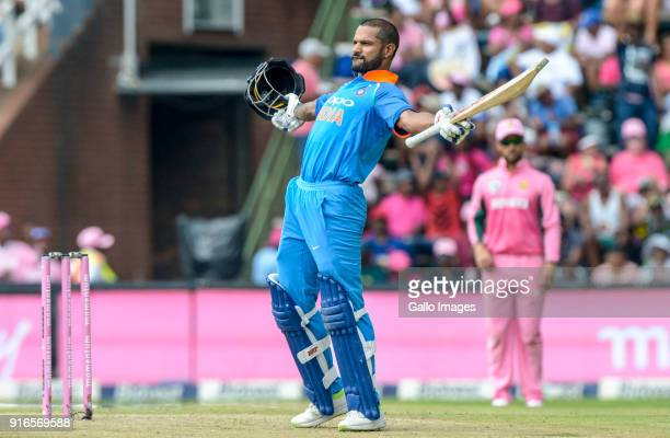 Shikhar Dhawan of India celebrates the occasion of his 100 runs during the 4th Momentum ODI match between South Africa and India at Bidvest Wanderers...