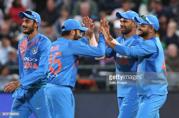 Shikhar Dhawan of India celebrates the wicket of Reeza Hendricks of South Africa during the 3rd KFC T20 International match between South Africa and...