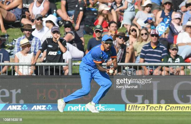 Shikhar Dhawan of India drops a catch during game one of the One Day International series between New Zealand and India at McLean Park on January 23,...