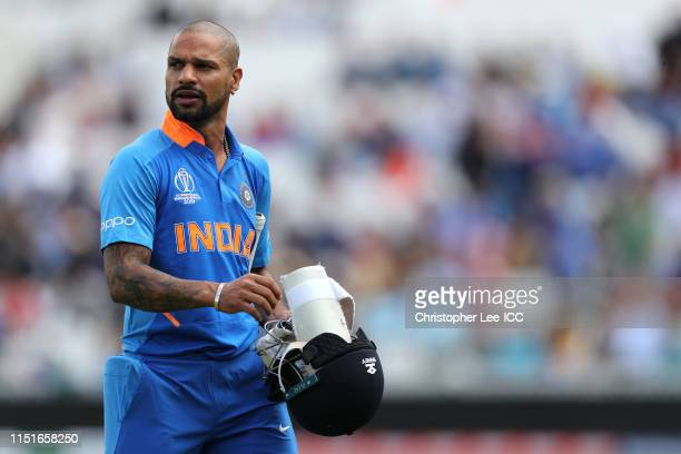 Shikhar Dhawan of India during the ICC Cricket World Cup 2019 Warm Up match between India and New Zealand at The Kia Oval on May 25, 2019 in London,...