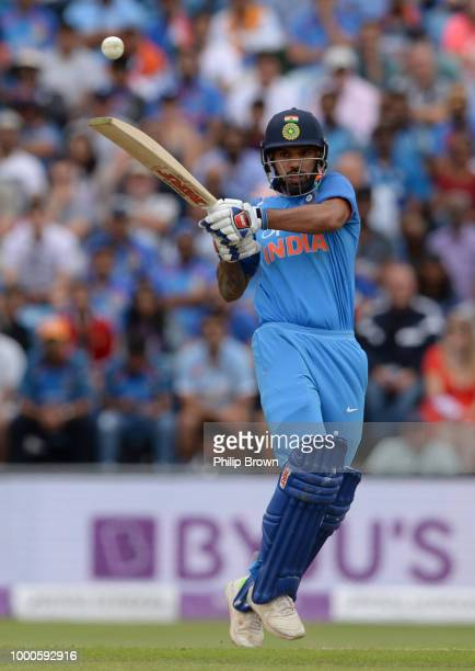 Shikhar Dhawan of India hits out during the 3rd Royal London OneDay International between England and India at Headingley on July 17 2018 in Leeds...