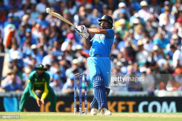 Shikhar Dhawan of India in action during the ICC Champions trophy cricket match between India and South Africa at The Oval in London on June 11 2017