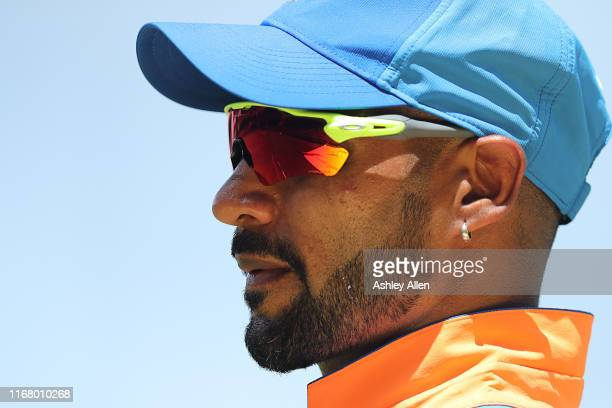 Shikhar Dhawan of India in the field during the third MyTeam11 ODI between the West Indies and India at the Queen's Park Oval on August 14, 2019 in...