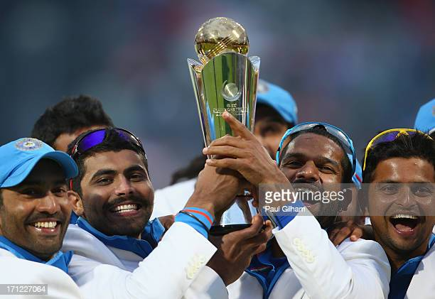 Shikhar Dhawan of India lifts The ICC Champions Trophy with Ravindra Jadeja after India beat England in the ICC Champions Trophy Final match between...