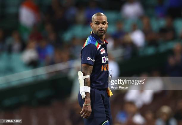 Shikhar Dhawan of India looks dejected after being dismissed by Adam Zampa of Australia during game one of the One Day International series between...