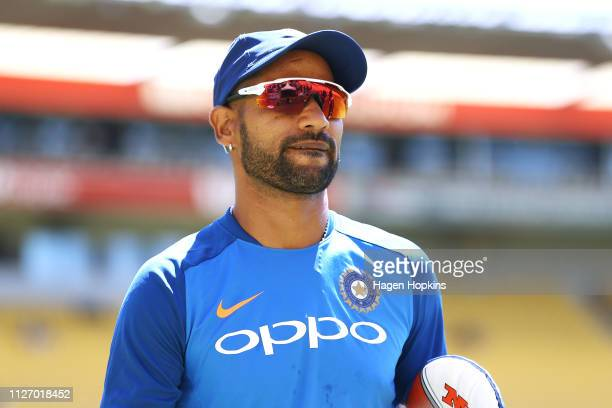 Shikhar Dhawan of India looks on during game five in the One Day International series between New Zealand and India at Westpac Stadium on February...