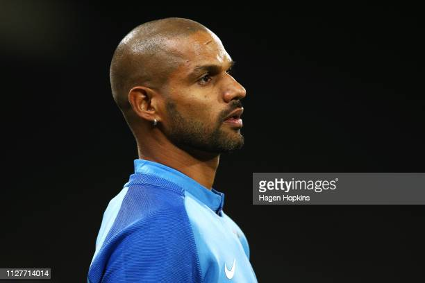 Shikhar Dhawan of India looks on during game one of the International T20 Series between the New Zealand Black Caps and India at Westpac Stadium on...