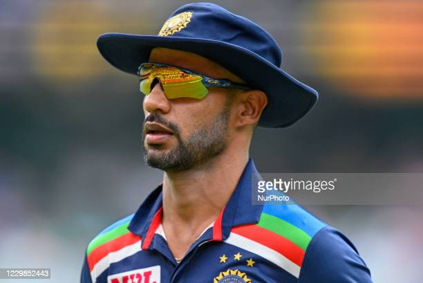 Shikhar Dhawan of India looks on during game two of the One Day International series between Australia and India at Sydney Cricket Ground on November...