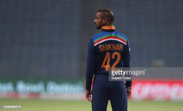 Shikhar Dhawan of India looks on during the 3rd One Day International match between India and England at MCA Stadium on March 28, 2021 in Pune, India.