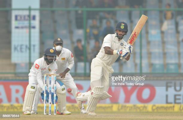 Shikhar Dhawan of India plays a shot during fourth day of the third cricket test match against Sri Lanka at Ferozshah Kotla in New Delhi