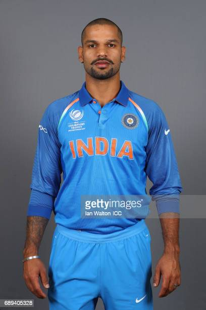 Shikhar Dhawan of India poses during an India Portrait Session ahead of ICC Champions Trophy at Grange City on May 27 2017 in London England