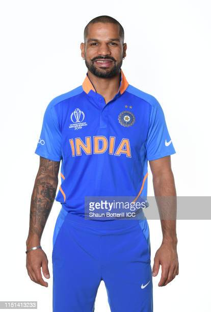 Shikhar Dhawan of India poses for a portrait prior to the ICC Cricket World Cup 2019 at the Plaza Hotel on May 24, 2019 in London, England.