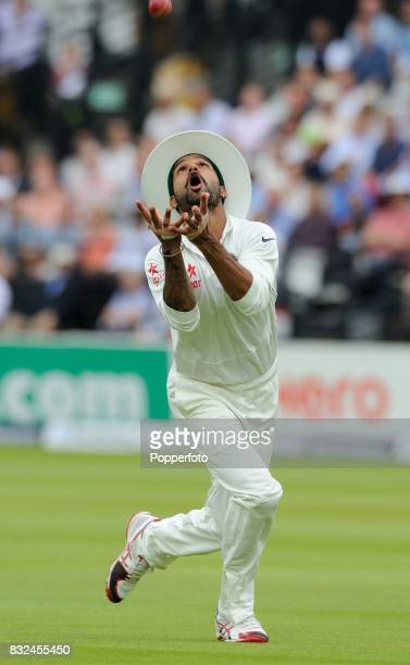 Shikhar Dhawan of India prepares to catch the ball during Day 3 of the 2nd Test between England and India at Lord's Cricket Ground in London on July...