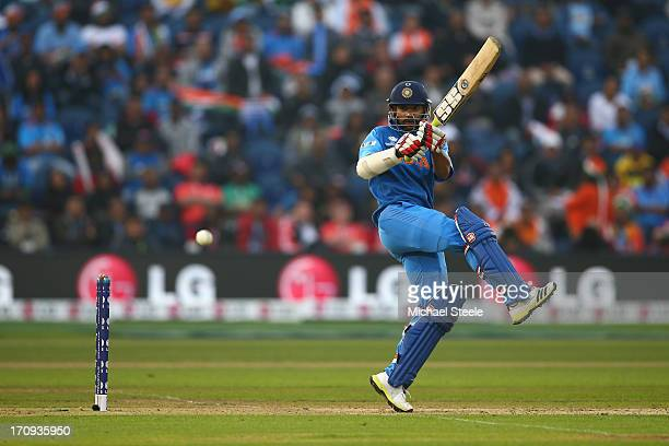 Shikhar Dhawan of India pulls a shot behind square during the ICC Champions Trophy SemiFinal match between India and Sri Lanka at the SWALEC Stadium...
