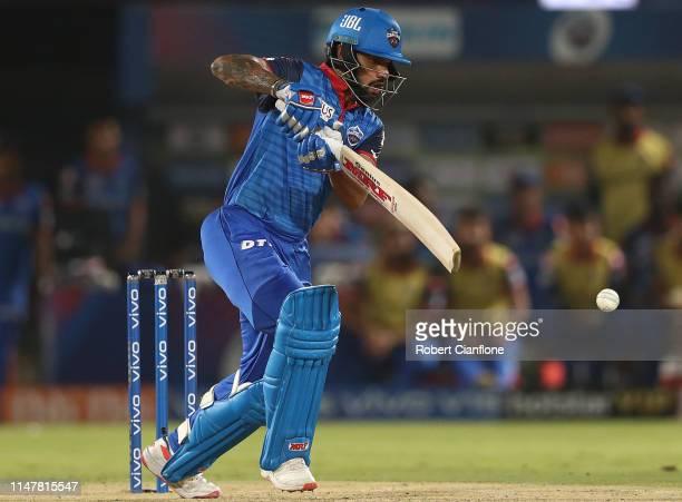 Shikhar Dhawan of the Delhi Capitals bats during the Indian Premier League IPL Eliminator Final match between the Delhi Capitals and the Sunrisers...