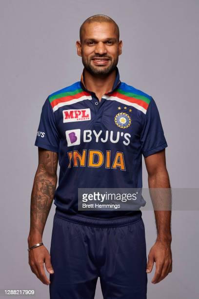 Shikhar Dhawan poses during the India Men's Twenty20 team headshots session at the Intercontinental on November 28, 2020 in Sydney, Australia.